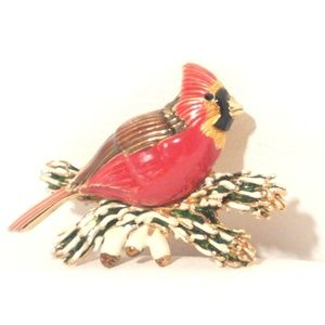 Smithsonian Institute Winter Cardinal Pin Brooch